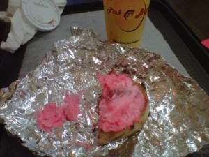 Pink stuff on cinnamon bagel